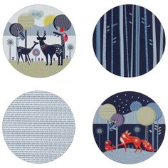 Wild & Wolf Folklore Woodland Animals & Spring Rain Placemats - Set of 4
