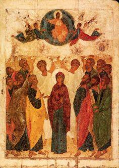 Ascension of Jesus - Andrei Rublev, 1408 Byzantine Icons, Byzantine Art, Russian Icons, Russian Art, Religious Icons, Religious Art, Andrei Rublev, Biblical Art, Biblical Hebrew
