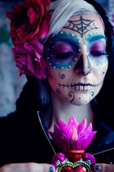 Purple Day of the dead makeup