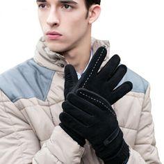 De moda caliente 2015 hombres de invierno de cuero guantes de muñeca negro  sólido color espesar b14f3fdd2a6
