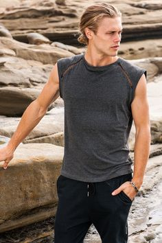Sauvage Mens Muscle Tee  Bamboo