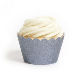Platinum Glitter Onyx Gray Reusable Cupcake Wrappers (12 Wraps) #Cupcake #Wrappers & #Liners