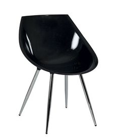 Chaise design noire ou blanche MEGAN, piétement en acier chromé Noir HCOMMEHOME-50