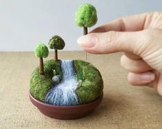 Playscape for Grown-ups Miniature Woodland Landscape, Mini Trees, Outdoors Nature Gift River Stream Waterfall, Pincushion Pin Cushion - Nadelfilzen Ideen Diy Cadeau Noel, Selling Handmade Items, Needle Felting Tutorials, Gifts For Nature Lovers, Wet Felting, Wool Needle Felting, Felt Art, Felt Animals, Felt Crafts