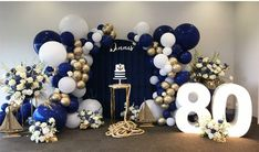 No photo description available. 50th Birthday Balloons, 80th Birthday Party Decorations, Boys First Birthday Cake, Prince Birthday Party, 80 Birthday, Office Holiday Party, Gold Party Decorations, Nautical Style, Tea Time