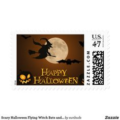 Scary Halloween Flying Witch Bats And Pumpkin Postage