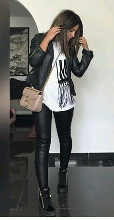 Leather Leggings Outfit, Leather Jacket Outfits, Black Leather Pants, Legging Outfits, Leggings Outfit Winter, Biker Jacket Outfit Women, Tribal Leggings, Spanx Faux Leather Leggings, Leggings Style