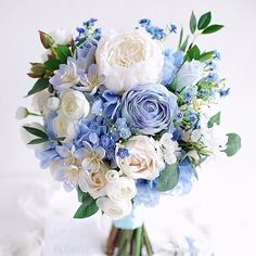145 popular bridal bouquet shapes & styles page 50 Bridal Bouquet Blue, Peony Bouquet Wedding, Blue Wedding Flowers, Bridesmaid Bouquet, Periwinkle Wedding, Pastel Bouquet, Wedding Reception Ideas, Wedding Gifts For Bride, Flower Arrangements