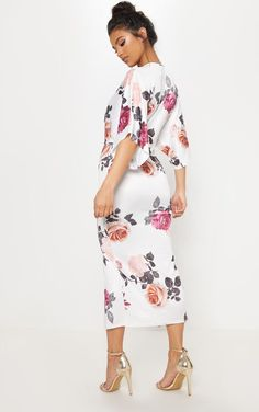 White Floral Print Twist Front Batwing Sleeve Midi Dress 262e16adb