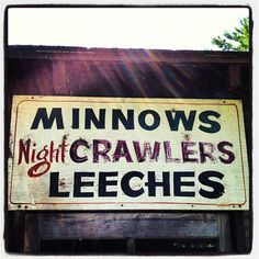 "Cool, old, handmade sign at the ""Big Muskie Resort"" on the Chippewa Flowage near Hayward, WI."