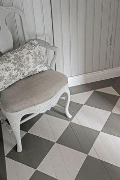 checkerboard floor ruutulattia P ö m p e l i Checkerboard Floor, Floor Molding, Provence Style, Swedish Style, Vintage Farm, Painted Floors, Cool Ideas, Interior Design, Interior Ideas