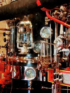 'Fireman - Lantern And Gauges On Fire Truck': Fine Art Prints by Susan Savad - ng for a gift for a fire fighter? This image of a lantern and gauges on an old-fashioned fire truck. I like this image because the lantern and gauges are beautiful polished brass and make a nice still life. #fireengine #firetruck #vintage #fireman #firemen AS LOW AS $32