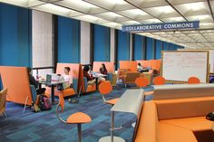 Standing desks and stadium seating...we saw this in all the classrooms in WI. -Sonja The Learning Commons: a new space that will connect students with campus experts in research, writing, speech, and digital media technology.