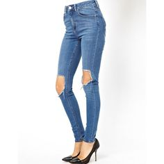 ASOS TALL High Waist Ultra Skinny Jeans In Busted Mid Wash Blue with... ($28) ❤ liked on Polyvore featuring jeans, pants, bottoms, pantalones, busted blue, asos, medium wash jeans, high-waisted jeans, high-waisted skinny jeans and high waisted denim skinny jeans