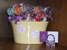 Tealight-ful Treats!  Lollipop like gifts for anyone who needs a pick me up!  Handmade by me, $2 each, using PartyLite tealights. love love this idea :)