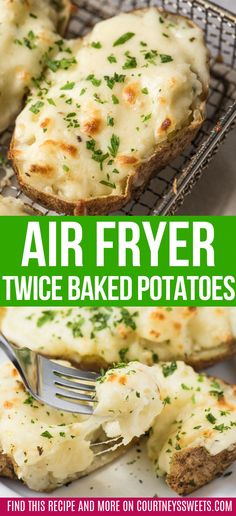 Cheesy and delicious air fryer twice baked potatoes are a family favorite These spuds are perfect for entertaining and they ll be the hit of the party - vegetarian side dish recipe or appetizer vegetarian potatoes airfryerrecipes airfryer Air Fryer Recipes Snacks, Air Fryer Recipes Vegetarian, Air Fryer Recipes Breakfast, Air Frier Recipes, Vegetarian Side Dishes, Air Fryer Dinner Recipes, Cooking Recipes, Air Fryer Recipes Potatoes, Vegetarian Appetizers