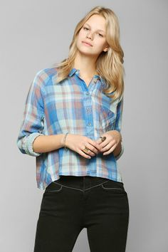 BDG Breezy Double-Layer Cropped Shirt