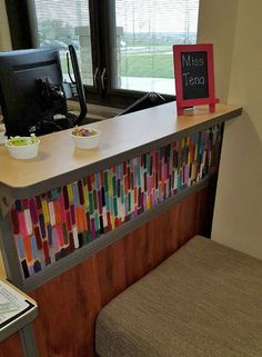 Incorporate fun acrylic designs into your reception desk to give your visitors a warm welcome.
