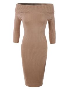 LE3NO Womens Soft Ribbed Knit Foldover Off Shoulder Bodycon Sweater Dress