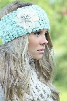 Boho Ear Warmer Headband Mint Cable Knit With White Bling Flower Crystals Pearls One Size #crochetideas