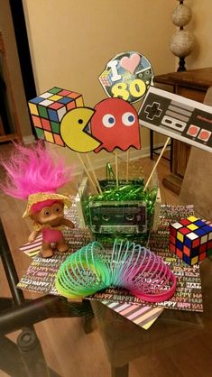 Small centerpiece for 80s party homemade decorations for 80s prom decoration ideas