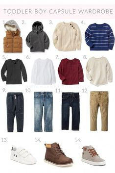 Toddler Boy Fall + Winter Capsule Wardrobe, featuring a sweaters, tops, bottoms and shoes that can be mixed and matched to last all season. Toddler Boy Fashion, Little Boy Fashion, Toddler Boy Outfits, Toddler Boys, Kids Outfits, Kids Fashion, Toddler Boy Style, Hipster Toddler, Boys Christmas Outfits