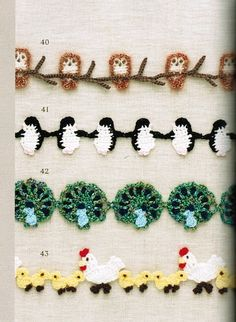 Adorable edgings (these and many more)! Patterns included.