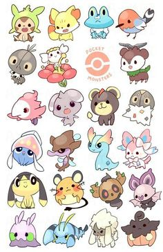 Pocket Monsters: GEN VI by aya-mei on DeviantArt - Pokémon - some of my fav ghost, fairy and psychic pokemon! (that i churned out in like record time woot) will - Pokémon Kawaii, Kawaii Anime, Cute Pokemon Wallpaper, Cute Cartoon Wallpapers, Kawaii Doodles, Cute Doodles, Cute Animal Drawings Kawaii, Cute Drawings, Easy Animal Drawings