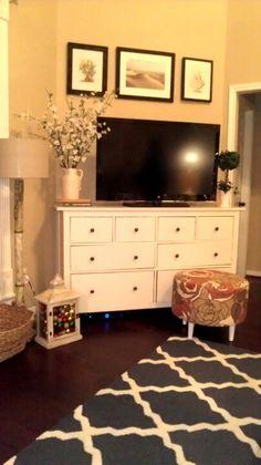 Dresser for TV stand/toy storage.  Makes so much sense!