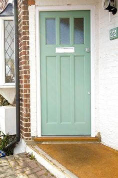 This week's front door color is sage green. Here are some sage green doors I found. Cottage Front Doors, Front Door Porch, Exterior Front Doors, House Front Door, Entry Doors, Exterior Paint, Front Door Design, Front Door Colors, 1930s Doors