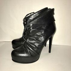 30709011792 Pour La Victoire Sz 9.5 Platform Stiletto Black Leather Bootie Ankle Boot  Sexy  PourLaVictoire