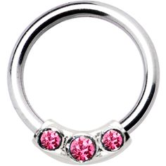 Silver 925 Light Rose Austrian Crystal Closure Ring | Body Candy Body Jewelry