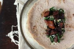 Rosemary & Walnut Flour Crepes with Wilted Greens, Apples and Squash