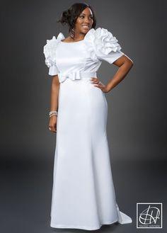 Rosette Shoulder Gown