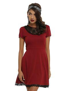 Burgundy & Black Lace Dress, BURGUNDY
