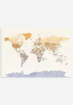 Watercolour Political Map of the World 2 Watercolour, Graphic Art, Contemporary Art, Coastal, Politics, Tapestry, Map, Wall Art, World