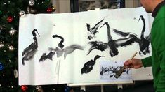 2011 New Year's Wishes with Dancing Cranes Chinese Brush Painting on Dou...