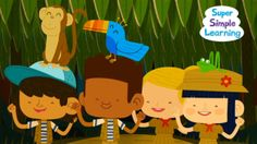 """""""Walking In The Jungle"""" (video for kids) - Let's take a walk in the jungle! Gestures and activity ideas for this song here: http://supersimplelearning.com/songs/themes-series/animals/walking-in-the-jungle/  """"Walking In The Jungle"""" teaches jungle animals and actions (walking, stomping, jumping, skipping) with some creative play."""