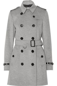 Burberry London | Leather-trimmed wool and cashmere-blend trench coat | NET-A-PORTER.COM