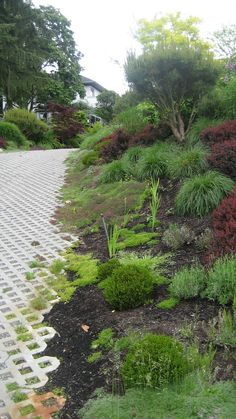 landscaping-turf-pavers-edge Side of driveway River Rock Landscaping, Stone Landscaping, Driveway Landscaping, Landscaping With Rocks, Pebble Garden, Rain Garden, Garden Stones, Back Gardens, Outdoor Gardens