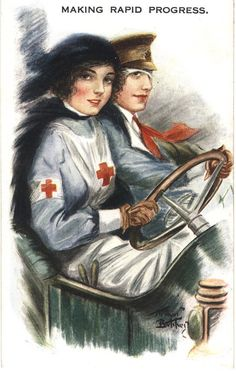 An illustration of a Red Cross nurse driving with a soldier, ca. Pictures of Nursing: The Zwerdling Postcard Collection. National Library of Medicine