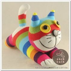 cat costumes for cats Picture - More Detailed Picture about Baby Toys Boy Girl Birthday Gift handmade DIY stuffed sock animals doll rainbow cat Christmas New Year Gifts Picture in Stuffed & Plush Animals from Honey's Art --Wedding and Baby Diy Sock Toys, Sock Crafts, Homemade Stuffed Animals, Stuffed Animal Cat, Sock Animals, Plush Animals, Pet Toys, Baby Toys, Sock Dolls