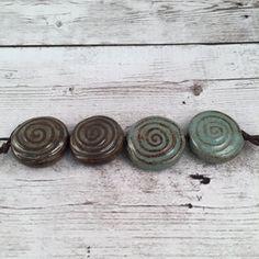 Handmade Ceramic Beads  Coin Beads  Spiral by MarshaNealStudio