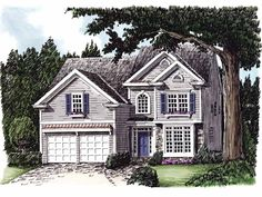 Colonial House Plan with 2448 Square Feet and 4 Bedrooms from Dream Home Source | House Plan Code DHSW32056