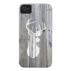 vintage white deer head on gray wood case
