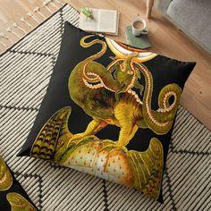 'Dragon tshirt - fire breathing - man eating - a beastie - groteskology' Floor Pillow by Floor Pillows, Throw Pillows, Free Stickers, Pillow Design, My Arts, Vibrant, Dragon, Flooring, Art Prints