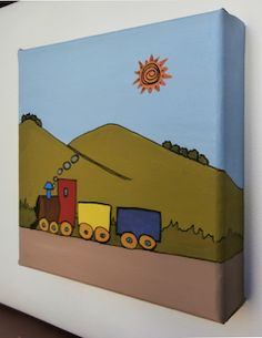 """""""Tren bajo montaña"""" (vista lateral) // 20 x 20 x 3,5 cm // Gouache (pintura al agua) sobre lienzo // Bastidor pintado (no requiere marco) // Obra original, pintada a mano **55,00 € ** Más información en el tablero """"Mankel: venta y contacto"""""""