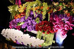 Beautiful & Dramatic Bar Mitzvah Escort Card Display - Floral Work of Art {Ira Rosen Photography, Gala Event and Food Artistry NY} - mazelmoments.com