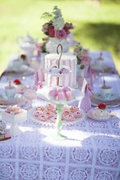 Dream Tea Party Decor --  Add some healthy to your day with Old London. oldlondonfoods.com #teaparty #decor #pink