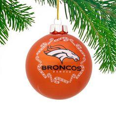 Denver Broncos Candy Cane Traditional Ball Ornament - Orange